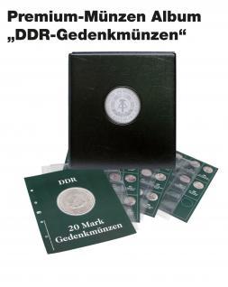 SAFE 7412 PREMIUM MÜNZALBUM DDR 20 Mark Gedenkmünzen farbiges Vordruckalbum + 4x Münzhüllen 7292 + 4 Vordruckblätter 20 Mark