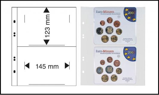 10 X LINDNER MU1362 Multi Collect Münzblätter 2 Taschen 145 x 123 mm Deutsche Euro Kursmünzensätze ST