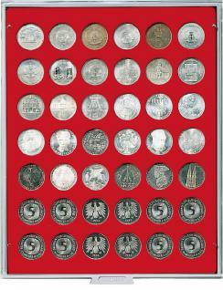 LINDNER 2105 Münzbox Münzboxen Standard für 42 Münzen 29, 5 mm Ø 5 DM - 5 Euro Österreich