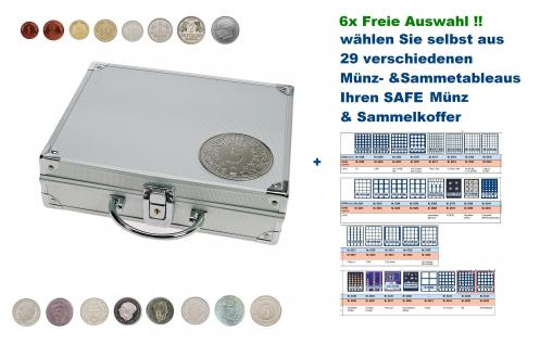 SAFE 235 ALU Länder Münzkoffer SMART BR. Deutschland mit 3D Plakette + 6 Tableaus FREIE AUSWAHL aus 29 verschiedenen Münzen- und Sammeltableaus