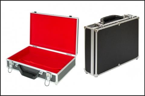 Lindner 2338o grosser MÜNZKOFFER im schwarzen Alu Design mit rotem Velour Innen (leer) zum selbst bestücken mit 8 Tableaus
