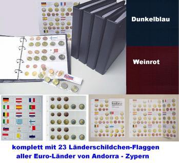 KOBRA FE-SO Rot - Weinrot Euro-Münzalbum Album Ringbinder + 5 Münzhüllen Münzblätter FE24 + farbige Vordrucke + 23 Länderschildchen für 15 komplette EURO KMS Kursmünzensätze von Andorra - Zypern