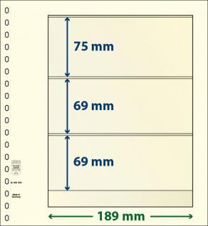 1 x LINDNER 802303 T-Blanko-Blätter Blankoblatt 18-Ring Lochung - 3 Taschen 75 / 69 / 69 x 189 mm