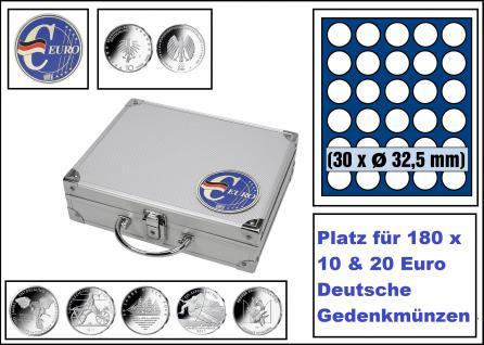 SAFE 279-5 ALU Münzkoffer SMART Deutschland 3D Plakette + 6x 6332 Tableaus mit 30 Runden Fächern Für 180 Münzen Ideal für 10 - 20 Euro Gedenkmünzen