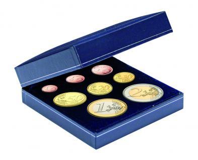 SAFE 7916 Blaues Münzetui Münzen Etui für kompletten Euro KMS Kursmünzensatz 1, 2, 5, 10, 20, 50 Cent - 1, 2 Euromünzen
