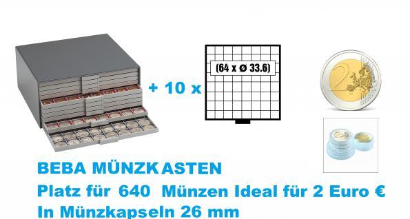 SAFE 6158 Beba Münzkasten mit 10 Schubern 6108 Platz für 640 Münzen bis 33, 6 mm - Ideal für 2 Euromünzen Gedenkmünzen Sondermünzen in Münzkapseln 26 mm
