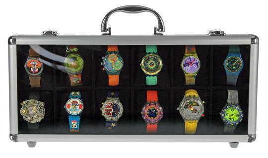SAFE 262 Design ALU Uhrenkoffer 12 extra großen Fächer 65 x 80 mm + Uhrenhaltern klarem - Vorschau 2