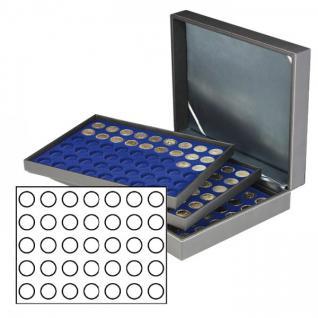 LINDNER 2365-2111ME Nera XL Münzkassetten mit 3 Marine Blau Einlagen 105 Fächer für Münzen bis 32, 50 mm für 10 Euro / DM - 20 Euro Gedenkmünzen