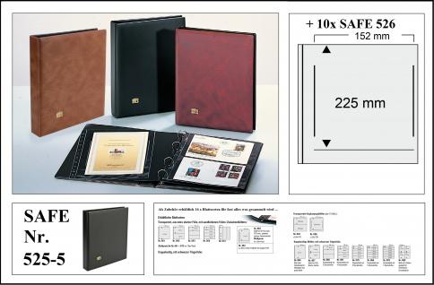 SAFE 525-5 Schwarz Universal Album Ringbinder + 10 Hüllen - 1 Tasche 152 x 225 mm Für DIN A5 & ETB's Ersttagsbriefe - gr. Briefe - Banknoten