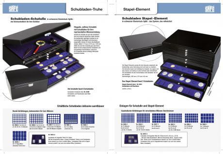 1 x SAFE 5867-1 Schwarze Schubladenf für die Sammelschatulle 6590 & 6591 mit blauer Einlage 24 runde Fächer 38 mm Ideal für 10 DM - 10 Mark DDR - 10 & 20 Euro Münzen alle Münzkapseln 32, 5 PP - Vorschau 3
