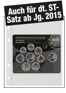 """1x SAFE 880 Coin Compact Ergänzungsblätter Spezialblätter Münzhüllen 1 Tasche 150 x 230 mm Für 1 x Deutsche Euro KMS """" ST auch ab Jg. 2015"""