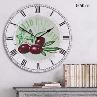"""SAFE 74104 Große Dekorative Wanduhr Oliven Motiv, """" La Dolce Vita """" im mediterranen Landhausstil, mit römischen Ziffern, Durchmesser 50 cm"""