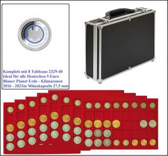 LINDNER 2338-320 ALU MÜNZKOFFER Black Design mit 8 Tableaus 2329-40 Für 320 x Deutsche 5 Euro Gedenkmünzen Blauer Planet - Klimazonen 2016 - 2021 in Münzkapseln 26 mm
