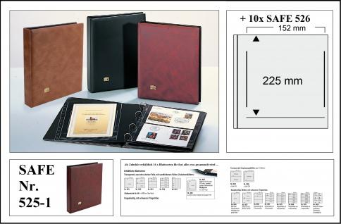 SAFE 525-1 Weinrot - Rot Universal Album Ringbinder + 10 Hüllen - 1 Tasche 152 x 225 mm Für DIN A5 & ETB's Ersttagsbriefe - gr. Briefe - Banknoten