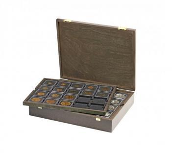 LINDNER 2494-2122ME CARUS Echtholz Holz Münzkassetten CARREE mit 4x 2122ME blauen Tableaus Für 80 Münzkapseln CARREE & Münzrähmchen Standard 50x50 mm