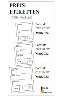1000 x LINDNER 802023 Preis-Etiketten Preisetiketten gross 31 x 36 mm für Briefmarken und Banknoten - Vorschau 2