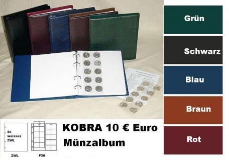 KOBRA FZ-SO Blau Münzalbum 10 € Euro Münzen + 5 x Münzblättern F20 + ZWL erweiterbar bis 200 Münzen Für 5 & 10 DM - 5 & 10 & 20 Euro Gedenkmünzen