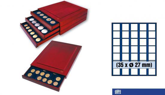 SAFE 6827 Nova Exquisite Holz Münzboxen Schubladenelement 35 Eckige Fächer 27 mm Für 2 Euro DM CHF Sloty - viele 1/2 Oz Unzen Goldmünzen