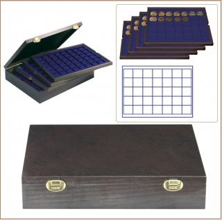 LINDNER 2494-5M CARUS-4 Echtholz Holz Münzkassetten 4 blaue Tableaus 140 Fächer Münzen bis 36 x 36 mm & Münzkapseln 30 mm