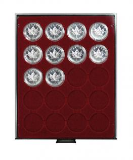 LINDNER 2620 Münzbox Münzboxen Rauchglas 20 x 46 mm 1 Unze Meaple Leaf Silber in Münzkapseln