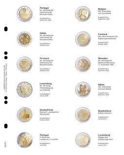 1 LINDNER MU2E4 Multi Collect Münzhüllen Münzblätter Vordruckblatt 2 Euro Gedenkmünzen Portugal September 2008 - Luxemburg Jan 2010
