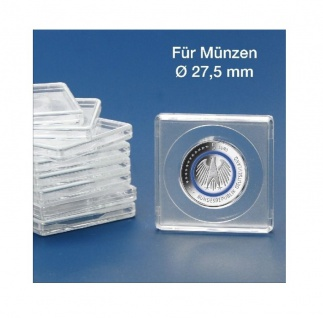 5 x SAFE 3127-5 SAFE Quadratische Münzkapseln Münzdosen Square 50x50 mm glasklar für Münzen bis 27, 5 mm - Ideal für 5 Euro Planet Erde - Klimazonen & 2 DM & 2 Reichsmark