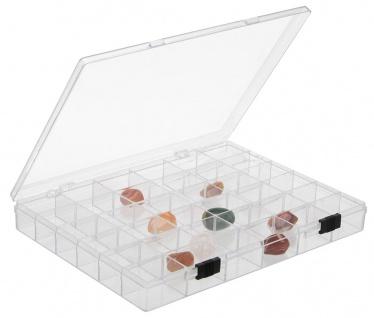 SAFE 5260 Transparente Kleinboxen Setzkasten Kunststoff Universal mit 36 Fächer 33 x 33 x 32 mm Für Mineralien - Fossilien - Bernstein - Muscheln - Schnecken - Steine - Kristalle