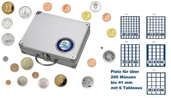 SAFE 248 STANDARD ALU Länder Münzkoffer SMART Schweden / Sweden / Sverige mit 6 Tableaus Mix für über 200 Münzen bis 41 mm