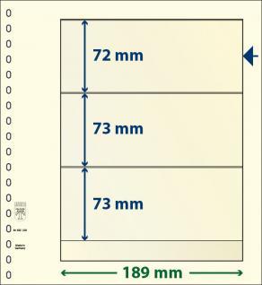 10 x LINDNER 802320P T-Blanko-Blätter Blankoblatt 18-Ring Lochung - 3 Taschen 72 / 73 / 73 x 189 mm