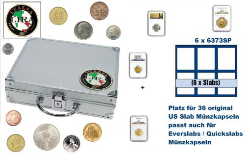 SAFE 232 ALU Länder Münzkoffer SMART Italien / Italia / Italy 6 Tableaus 6373SP für 36 original US Slab Münzkapseln & Eversalbs & Quickslab Münzkapseln