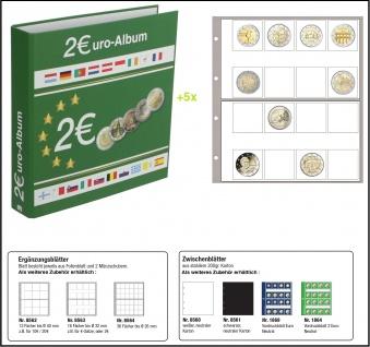SAFE 8556 Münzalbum Designo 2 EURO + 5 Münzblättern - Münzhüllen 8563 - Für 80 - 2 Euro Münzen