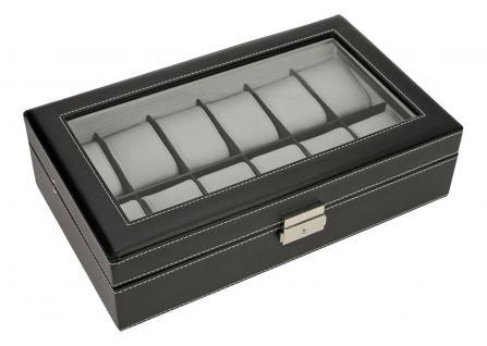 SAFE 73630 Skai Uhrenkoffer Kassette Tabak - Dunkelbraun Für 12 Uhren + Uhrenhaltern Cremefarbend - Vorschau 4