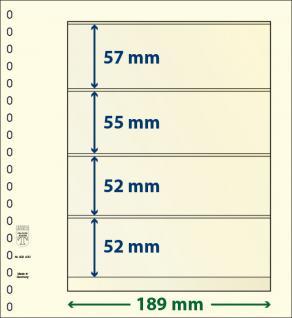 1 x LINDNER 802400 T-Blanko-Blätter Blankoblatt 18-Ring Lochung 4 Taschen 57 / 55 / 52 / 52 x 189 mm