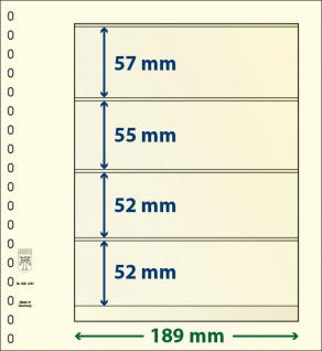 10 x LINDNER 802400P T-Blanko-Blätter Blankoblatt 18-Ring Lochung 4 Taschen 57 / 55 / 52 / 52 x 189 mm
