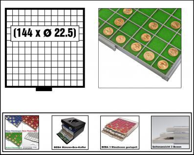 SAFE 6612-3 BEBA MÜNZBOXEN 144 quadratische Fächer 22, 5 mm + grüne Filzeinlagen Ideal für 1, 2, 5, 10, 20 Euro Cent & bis Münzkapseln 16, 5 mm