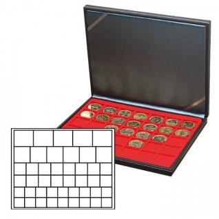 LINDNER 2364-2145E Nera M Münzkassetten Hellrot Rot Mixed für 45 x Münzen - 24, 28, 39, 44 mm die Starter Box