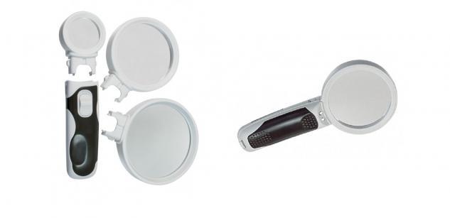 SAFE 4623 LED Leuchtlupen Stiellupen mit 3 auswechselbaren Linsenaufsätzen 2, 5x / 5x / 16x fach