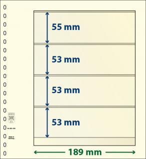 10 x LINDNER 802408P T-Blanko-Blätter Blankoblatt 18-Ring Lochung 4 Taschen 55 / 53 / 53 / 53 x 189 mm
