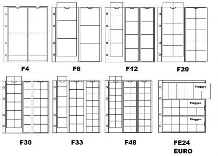 10 x KOBRA F33 Münzblätter Münzhüllen + weiße Zwischenblätter 33 Fächer MIX für Münzen 17, 25, 34 mm - Vorschau 2