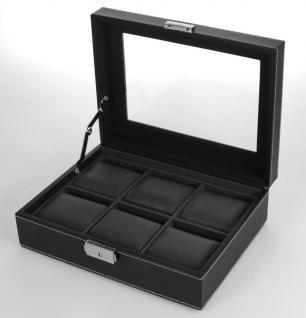 SAFE 217-2 Skai Uhrenkoffer Uhrenkassette Schwarz 6 extra großen Fächer + Uhrenhaltern in schwarz - Vorschau 2