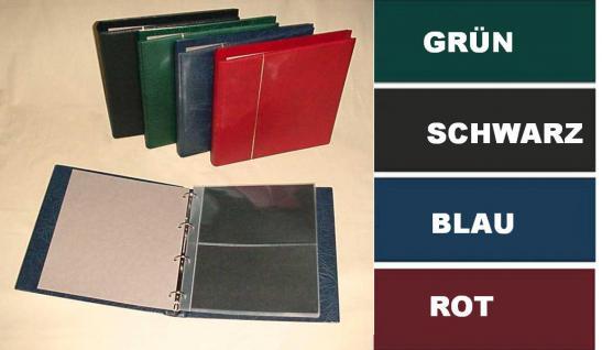 KOBRA G12P Grün Universal Ringalbum Ringbinder Album im Großformat mit 20 Blättern G12E für 80 Ganzsachen Postkarten Briefe Banknoten - Vorschau 1