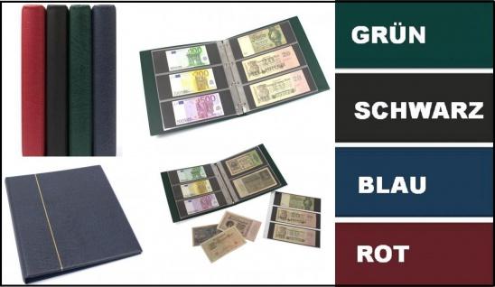 KOBRA G13-S Schwarz Banknotenalbum Ringbinder Album Großformat + 20 Ergänzungsblättern - Hüllen G13E 3er Teilung für 120 Notgeld Banknoten Geldscheine Papiergeld