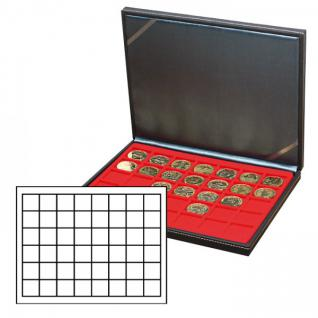 LINDNER 2364-2148E Nera M Münzkassetten Einlage Hellrot Rot 48 Fächer für Münzen bis 30 x 30 mm - 5 DM Euro Mark DDR
