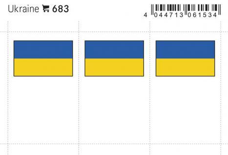 6 x LINDNER 683 Ukraine Flaggensticker Flaggen Signetten Sets zum aufkleben oder einstecken