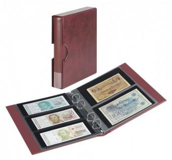 LINDNER S1406BN-W Rot / Weinrot Rondo Ringbinder Album Banknotenalbum + Kassette + 5x Hüllen MU140 2er Teilung & 5x MU3103 3er Teilung