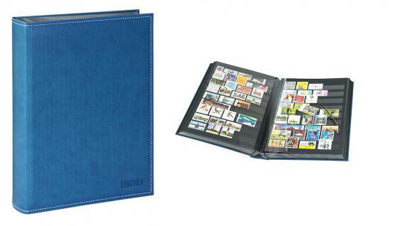 Lindner 1195-B Briefmarkenalbum Einsteckbücher Einsteckbuch Diamant Blau 60 schwarze Seiten klare Streifen + klare Folien ZWL