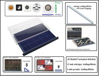 SAFE 6471 Stapelelemente Münzboxen mit schräger Auflagefläche blaue Einlage 20 eckige Fächer 60 x 54 mm - Ideal für 5 DM in Blisterfolie PP - Münzrähmchen 50x50 mm- Octo - Carree - Quadrum Münzkapseln - Vorschau 1