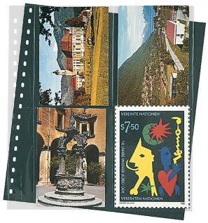 10 LINDNER 829P Postkarten Klarsichthüllen Schwarz 4 senkrechte Taschen 114x146 mm Für 8 neue Postkarten Ansichtskarten - Vorschau 1