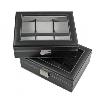 SAFE 217-2 Skai Uhrenkoffer Uhrenkassette Schwarz 6 extra großen Fächer + Uhrenhaltern in schwarz - Vorschau 3