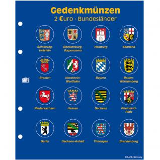 5 x SAFE 7827 TOPset Münzalbum Hülle für 16 x 2 Euromünzen Deutsche Bundesländer 2006 - 2021